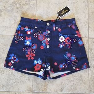 NEW JUICY COUTURE MOM JEAN SHORTS FLORAL JEWELED